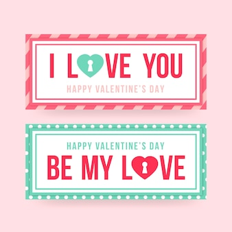 Valentine's day banners flat design style