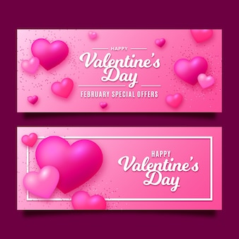Valentine's day banners in flat design