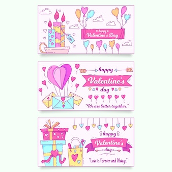 Valentine's day banners hand drawn style