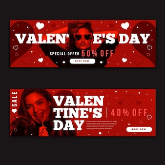 Valentine's day banners pack with photo