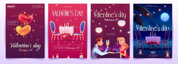 Valentine's day banners set. invitation for dating