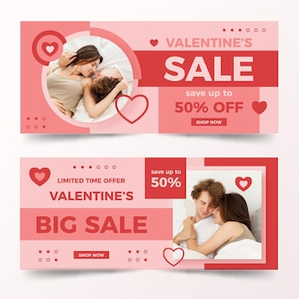 Valentine's day banners set with photo