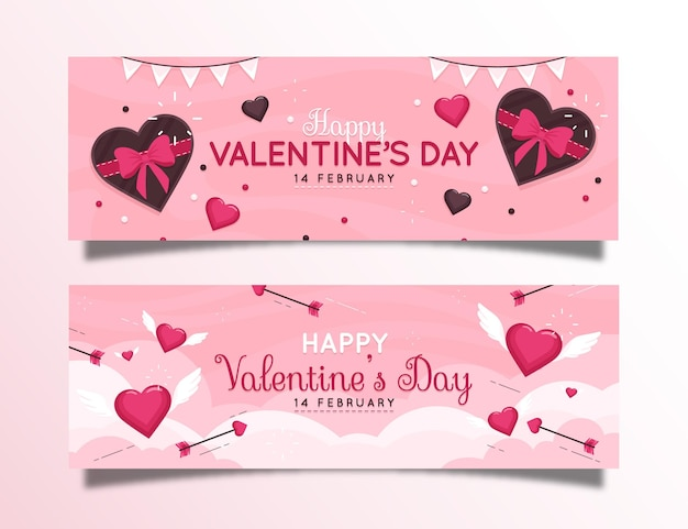 Valentine's day banners set