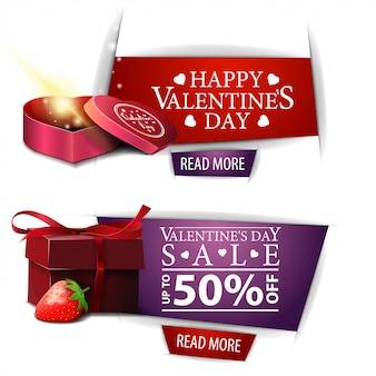 Valentine's day banners with buttons, gifts and strawberry