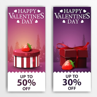 Valentine's day banners with gifts and strawberry