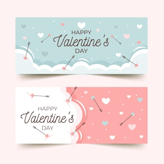 Valentine's day banners with greeting