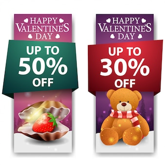 Valentine's day banners with pearl shell and teddy bear