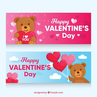 Valentine's day banners with teddy bear