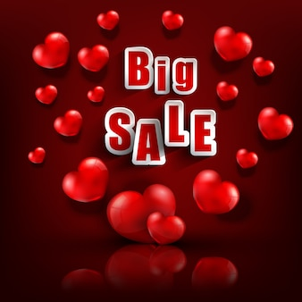 Valentine's day big sale background with heart balloons