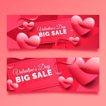 Valentine's day big sale banner with hearts and ribbons