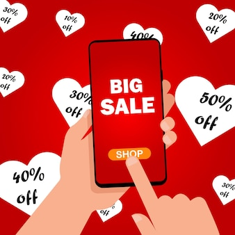 Valentine's day big sale inscription on the smartphone screen in the hands. buy gifts for your loved one. vector illustration. eps 10