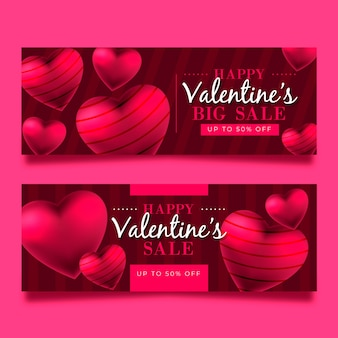 Valentine's day big sale with striped hearts