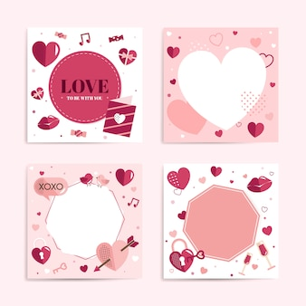 Valentine's Day blank backgrounds vector set