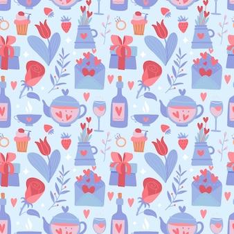 バレンタインデーの青と赤のシームレスなパターン。