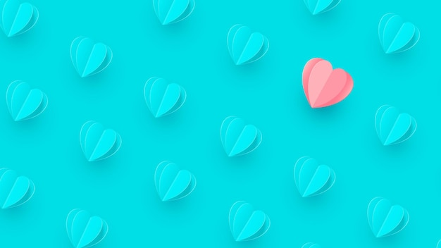 バレンタインデー青いハートが孤立