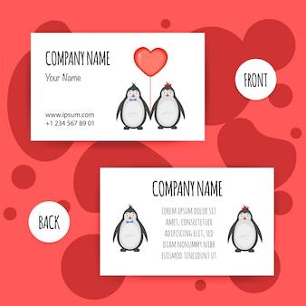 ペンギンとバレンタインデーの名刺。漫画のスタイル。ベクトルイラスト。