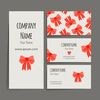 Valentine's day business card with bow. cartoon style. vector illustration.
