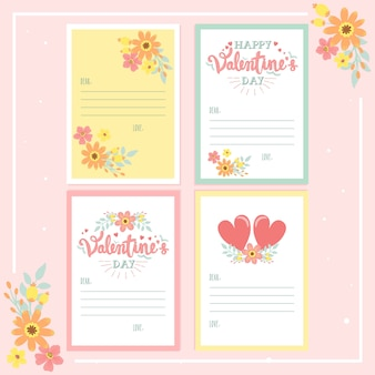 Valentine's day calligraphy lettering greeting card collection