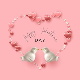Валентинка. форма сердца из розовых сердечек, фарфоровых птиц и жемчуга.