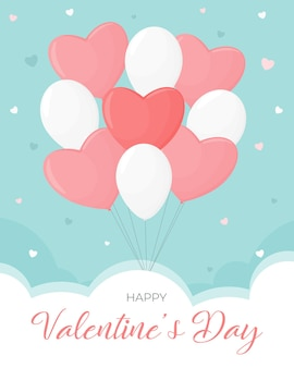 Valentine's day card. balloons, clouds in the sky