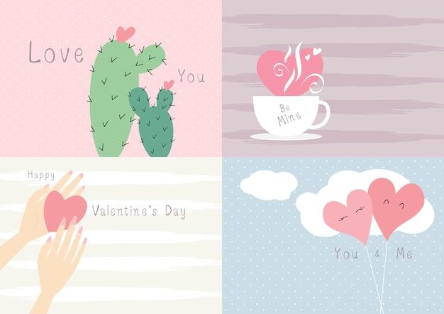 バレンタインデーカードデザインのラブコンセプト