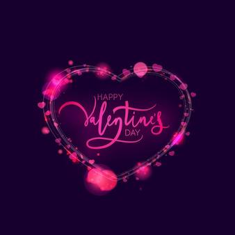 조명과 반짝이와 함께 발렌타인 카드 디자인. 삽화
