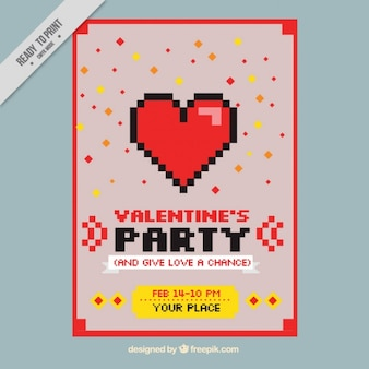 Valentine's day card in pixel art style