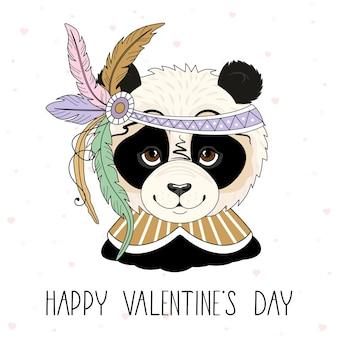 발렌타인 데이 카드. 축제 요소와 로맨틱 팬더. 핸드 레터링.