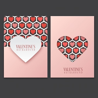 Valentine's day card set with cute heart pattern