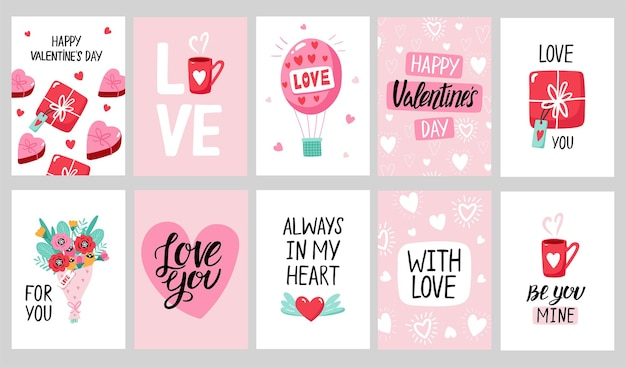 Valentine's day card set with hand draw lettering and cute elements.