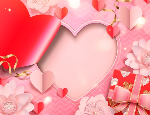 Valentine's day card template with paper heart shape and flowers, gift box in 3d style