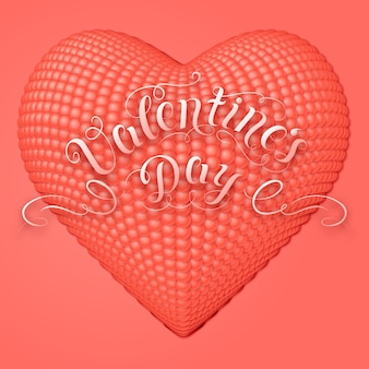 Valentine's day card with 3d heart