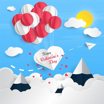 Valentine's day card with air balloons in paper cut style