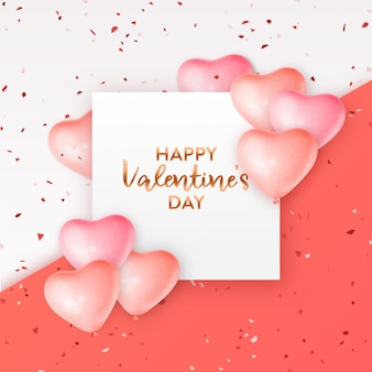 Valentine's day card with coral heart balloons