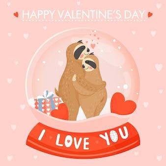 귀여운 나무 늘보 부부와 함께 발렌타인 데이 카드.