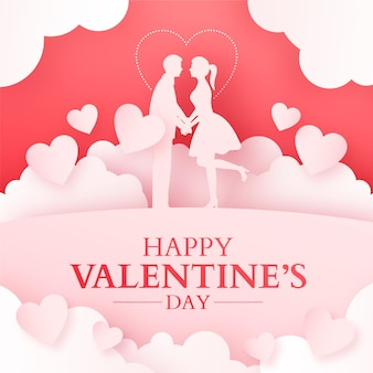Valentine's day card with couple silhouette and papercut hearts and clouds, romantic red background