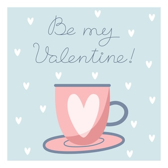 Valentine's day card with cup in flat style