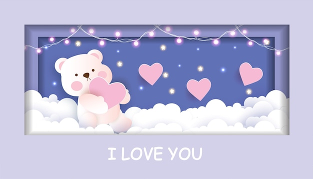 Valentine's day card with cute teddy bear holding a heart in the sky  paper cut style.