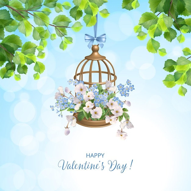 Valentine's day card with decorative hanging golden birdcage and flowers