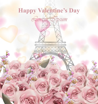 Valentine's day card with eiffel tower and roses