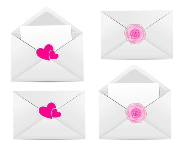Открытка на день святого валентина с конвертом, сердцем и вектором розы