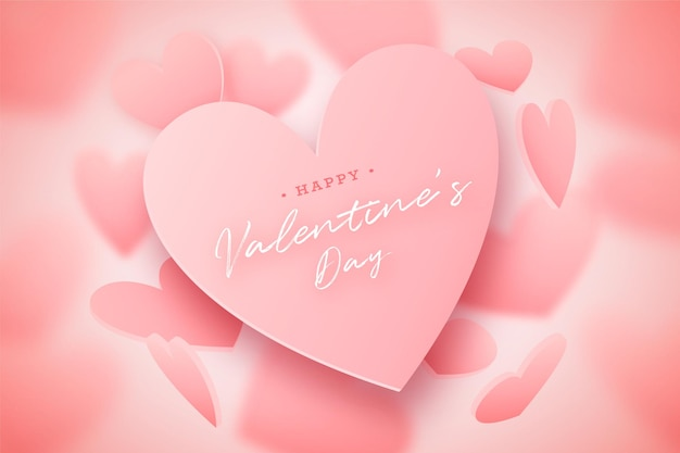 Valentine's day card with falling and blurred  pink hearts, lovely pink background