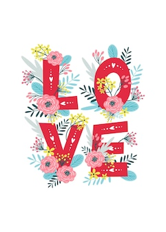 Valentine's day card with flowers.