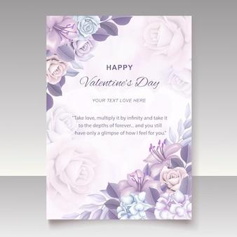 Handrawn 꽃 발렌타인 카드