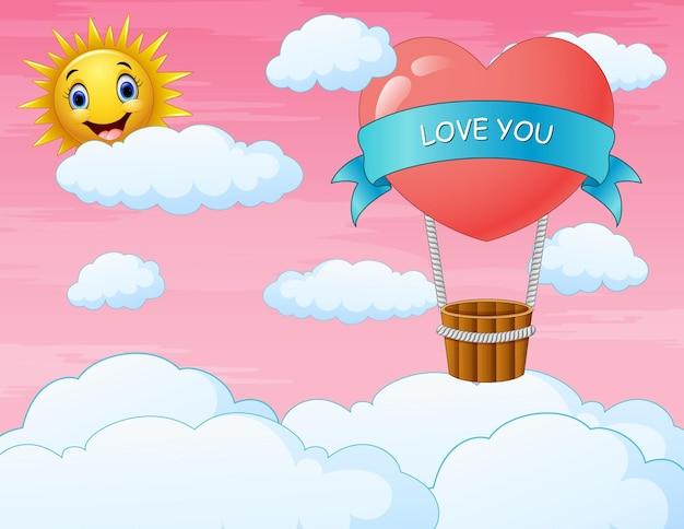 Открытка на день святого валентина с воздушным шаром в форме сердца, летящим в небе