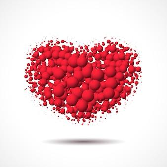 散らばった泡やボールで作られたハートのバレンタインデーカード
