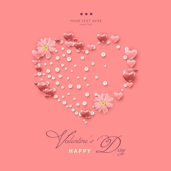 Valentine's day card with heart shape formed from pink hearts, pearls and pink flowers