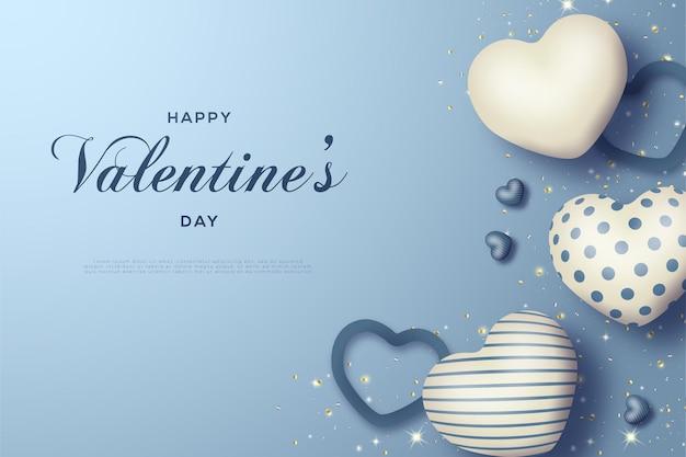 愛を形作る線画のバレンタインデーカード。