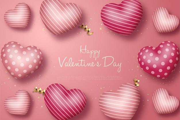 Валентинка с воздушными шарами любви с рисунком из линий и точек.