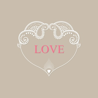Valentine's day card with ornament heart on a beige background